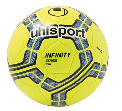 UHLSPORT-INFINITY-TEAM-Ballon-Football-Cousu-Main-Finition-Brillante-jaune-fluobleunoir-0